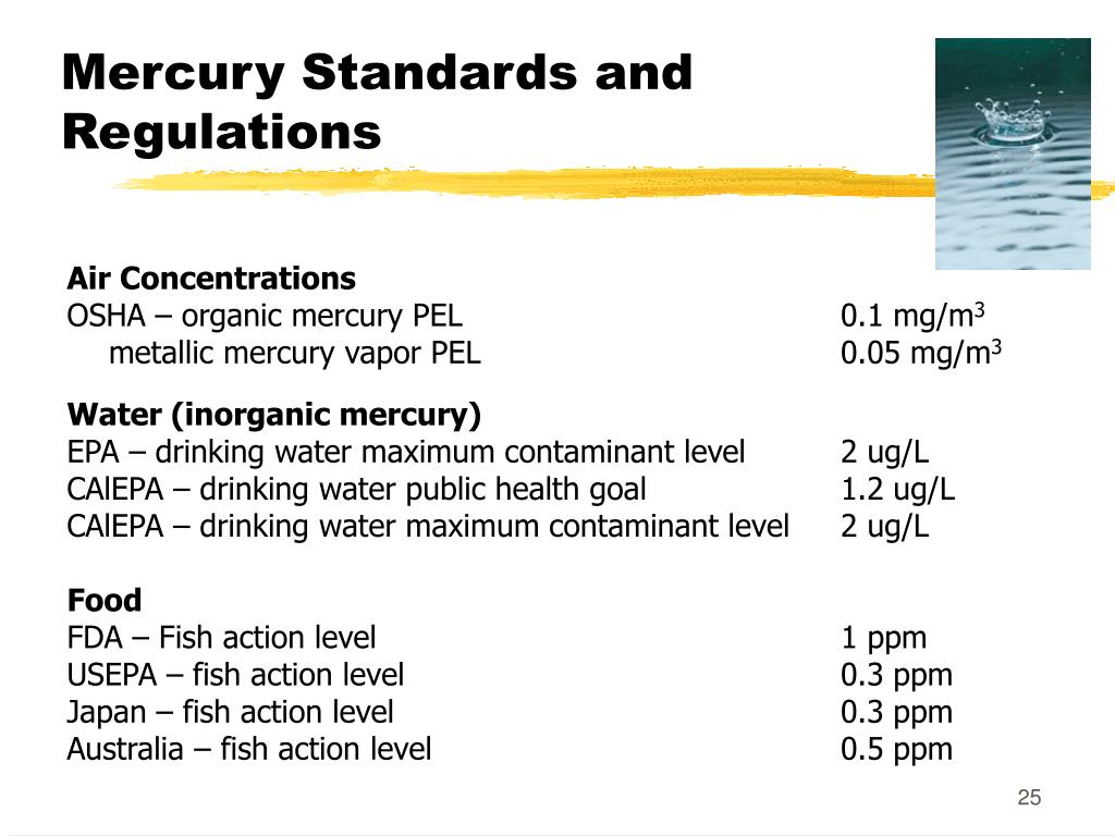 Mercury Standards and Regulations