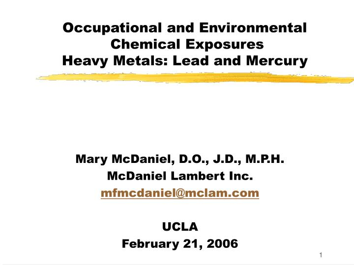 Occupational and environmental chemical exposures heavy metals lead and mercury