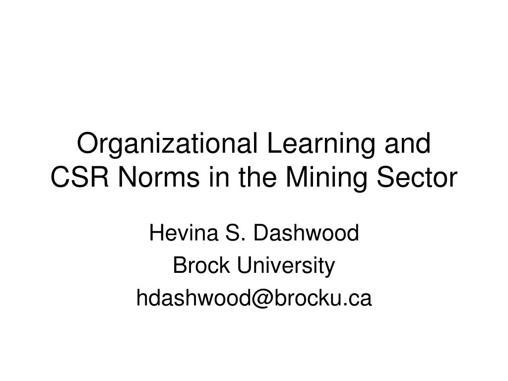 organizational learning and csr norms in the mining sector l.