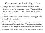 variants on the basic algorithm