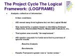 the project cycle the logical framework logframe