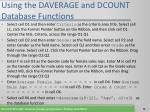 using the daverage and dcount database functions