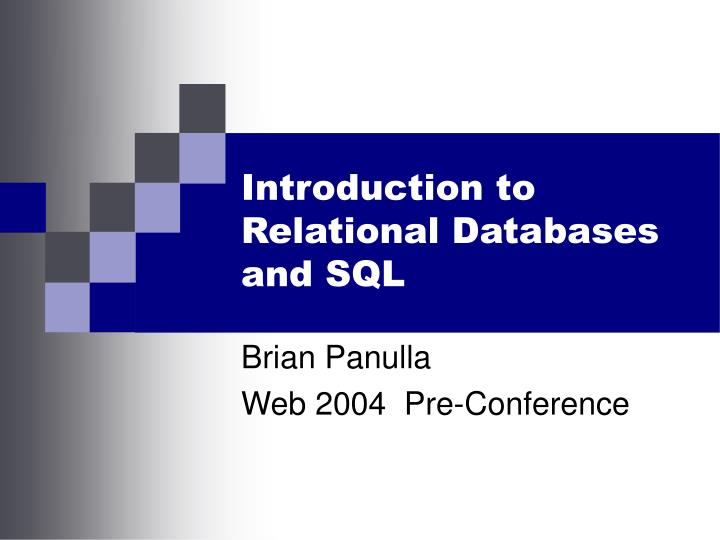 introduction to relational databases and sql n.