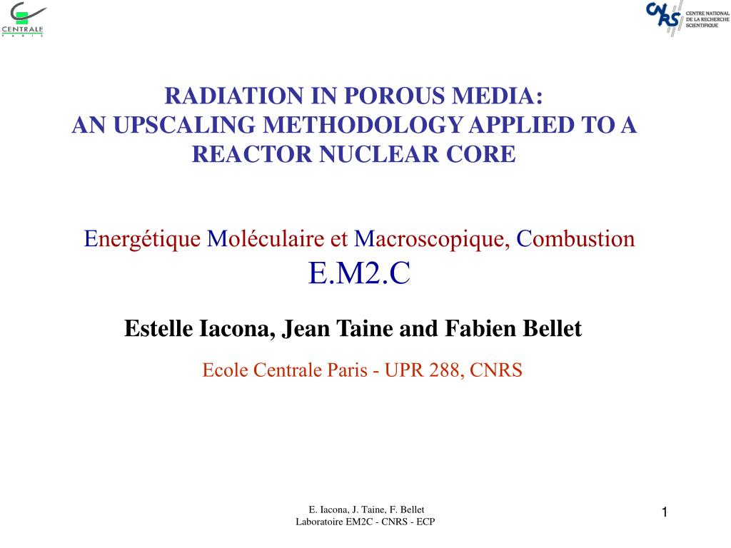 radiation in porous media an upscaling methodology applied to a reactor nuclear core l.