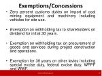 exemptions concessions