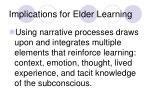 implications for elder learning
