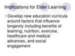 implications for elder learning41