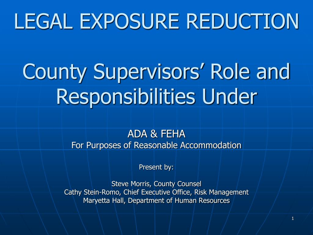 legal exposure reduction county supervisors role and responsibilities under l.