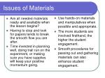 issues of materials