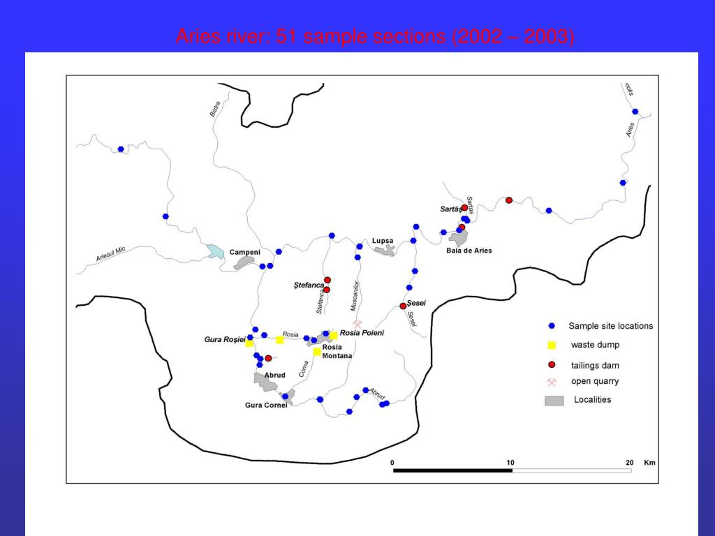 Aries river: 51 sample sections (2002 – 2003)