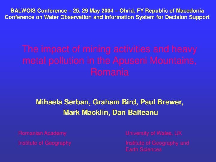 The impact of mining activities and heavy metal pollution in the apuseni mountains romania