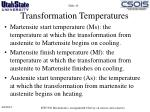 transformation temperatures