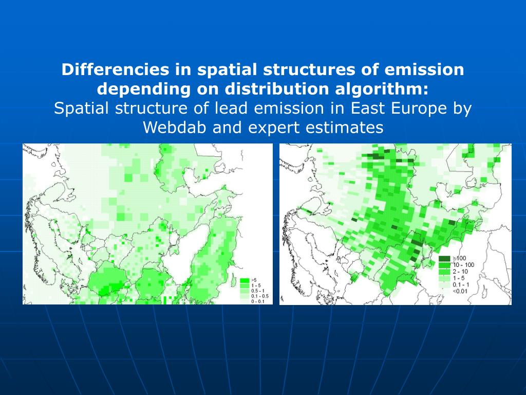 Differencies in spatial structures of emission depending on distribution algorithm: