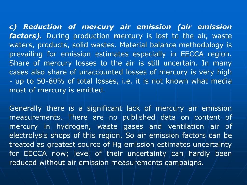 c) Reduction of mercury air emission (air emission factors).
