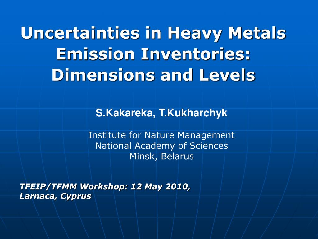 uncertainties in heavy metals emission inventories dimensions and levels l.