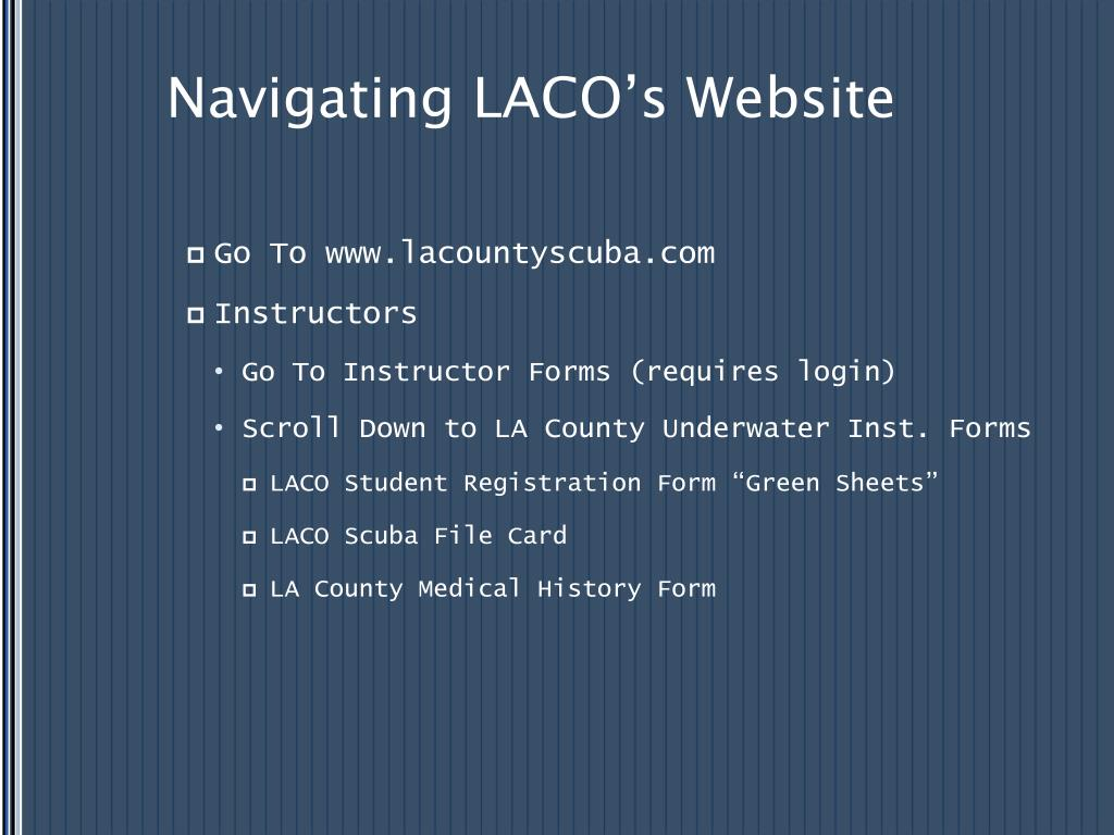 Navigating LACO's Website