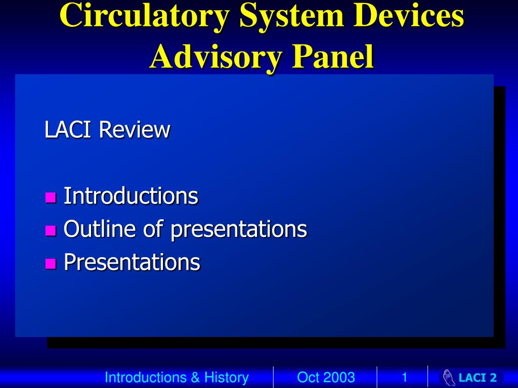 circulatory system devices advisory panel l.