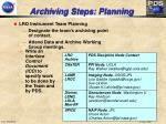 archiving steps planning
