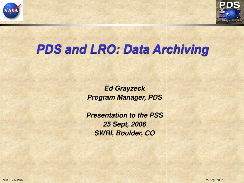pds and lro data archiving l.