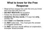 what to know for the free response