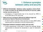 1 enhance synergies between safety and security