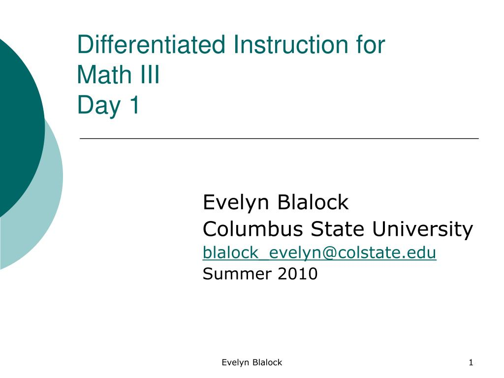 differentiated instruction for math iii day 1 l.