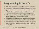 programming in the 70 s