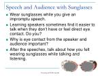 speech and audience with sunglasses