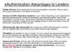 eauthentication advantages to lenders