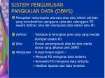 sistem pengurusan pangkalan data dbms