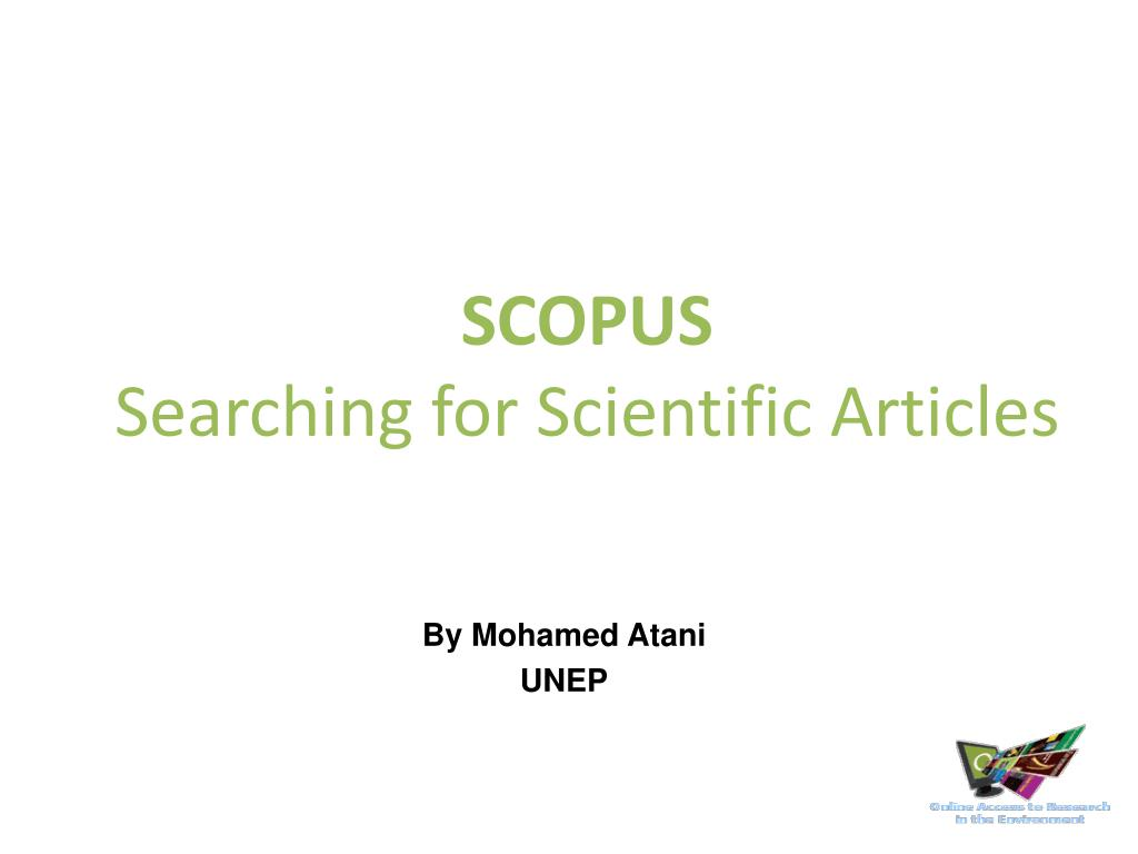 scopus searching for scientific articles l.