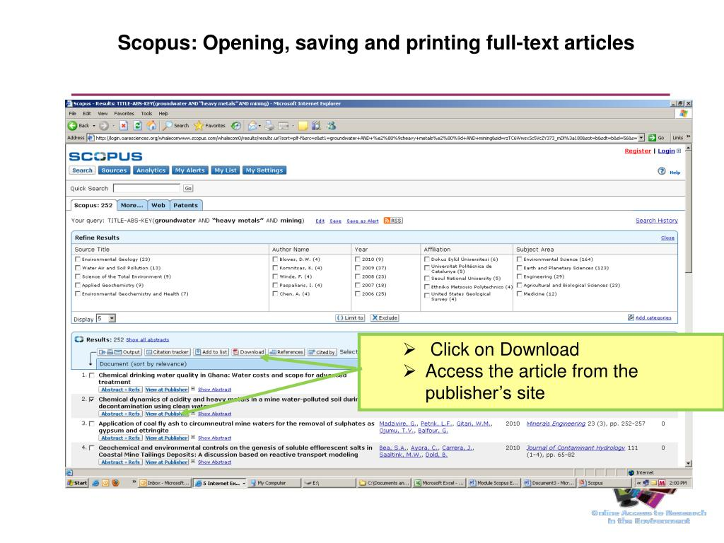 Scopus: Opening, saving and printing full-text articles