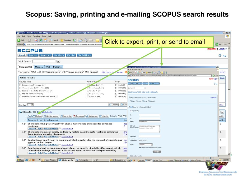 Scopus: Saving, printing and e-mailing SCOPUS search results