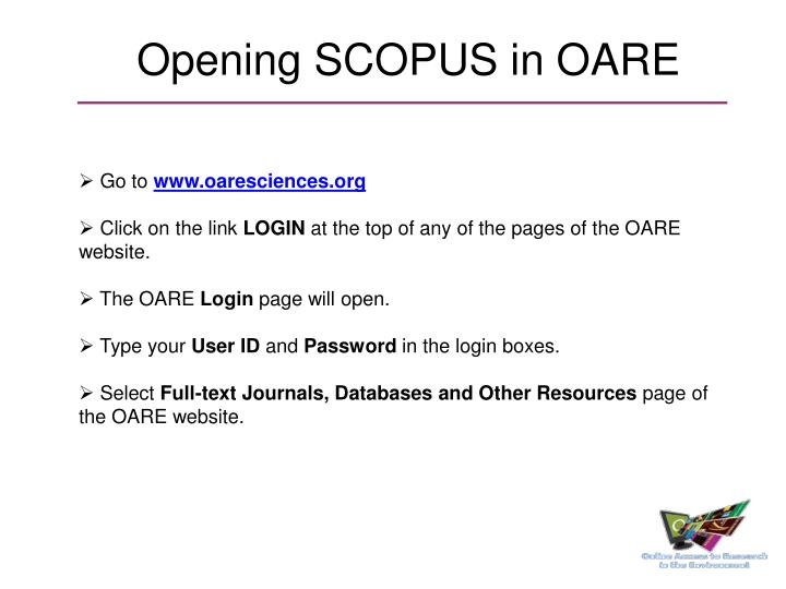 Opening SCOPUS in OARE