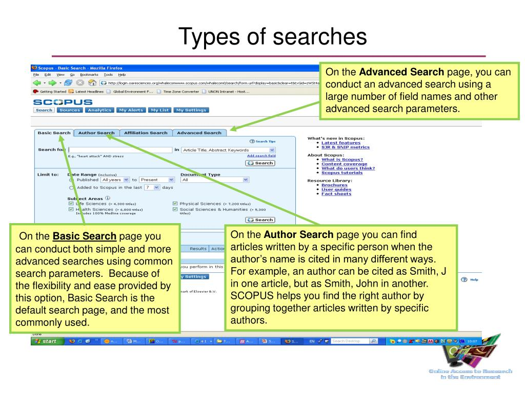 Types of searches