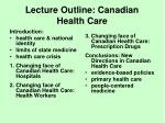 lecture outline canadian health care
