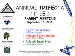 annual trifecta title i parent meeting september 15 2011