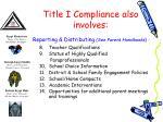 title i compliance also involves