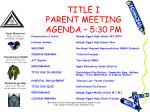 title i parent meeting agenda 5 30 pm