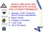 which are ways we communicate school and student progress