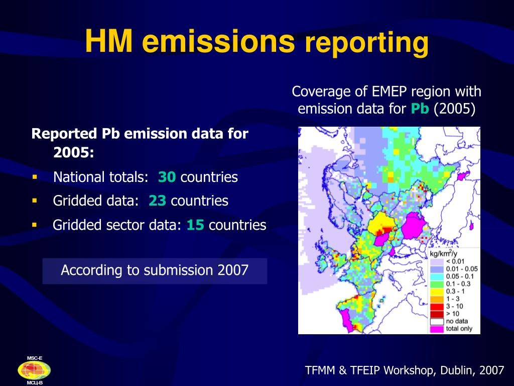 Coverage of EMEP region with emission data for