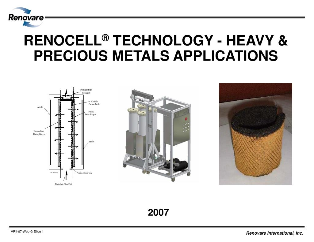 renocell technology heavy precious metals applications l.