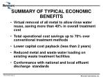 summary of typical economic benefits