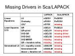 missing drivers in sca lapack