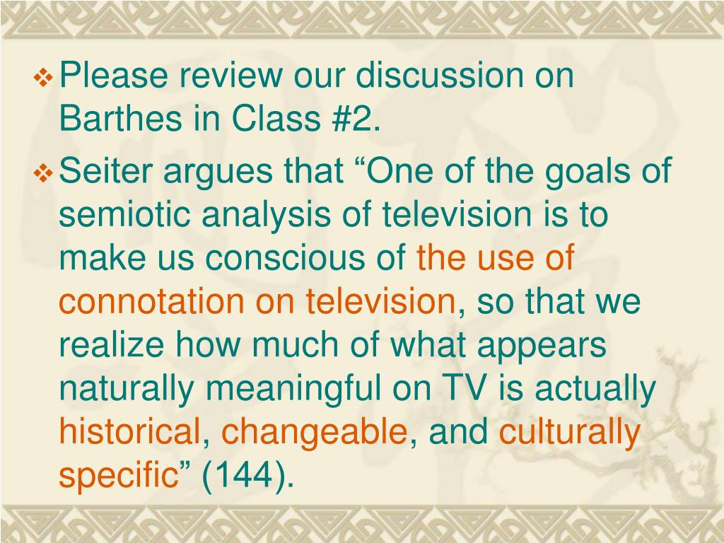 Please review our discussion on Barthes in Class #2.
