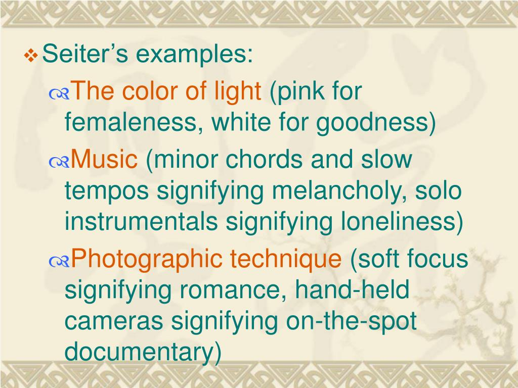 Seiter's examples: