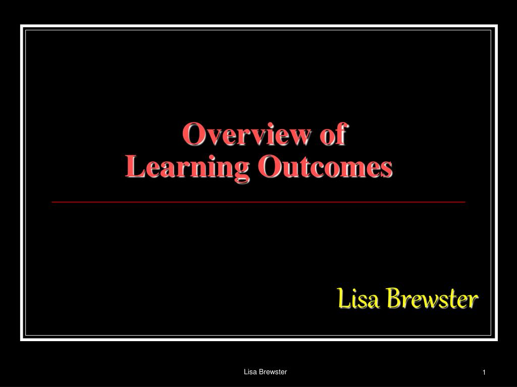 overview of learning outcomes l.