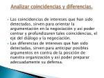 analizar coincidencias y diferencias