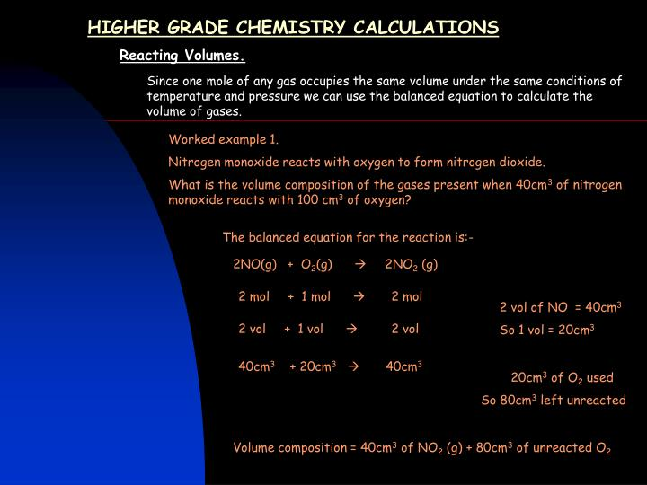 higher grade chemistry calculations n.