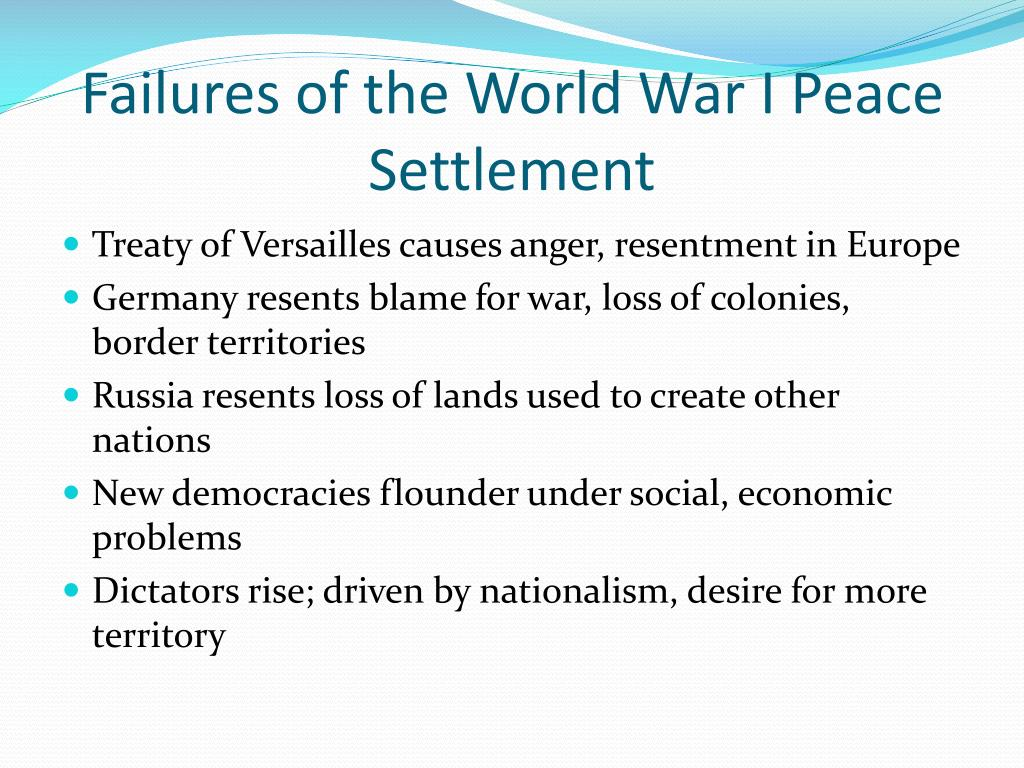 failures of the world war i peace settlement l.
